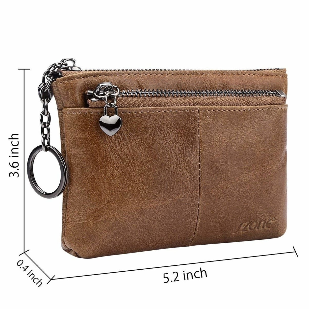 55084c2985 Women S Genuine Leather Triple Zipper Small Wallet Change Coin Purse Card  Holder With Key Ring
