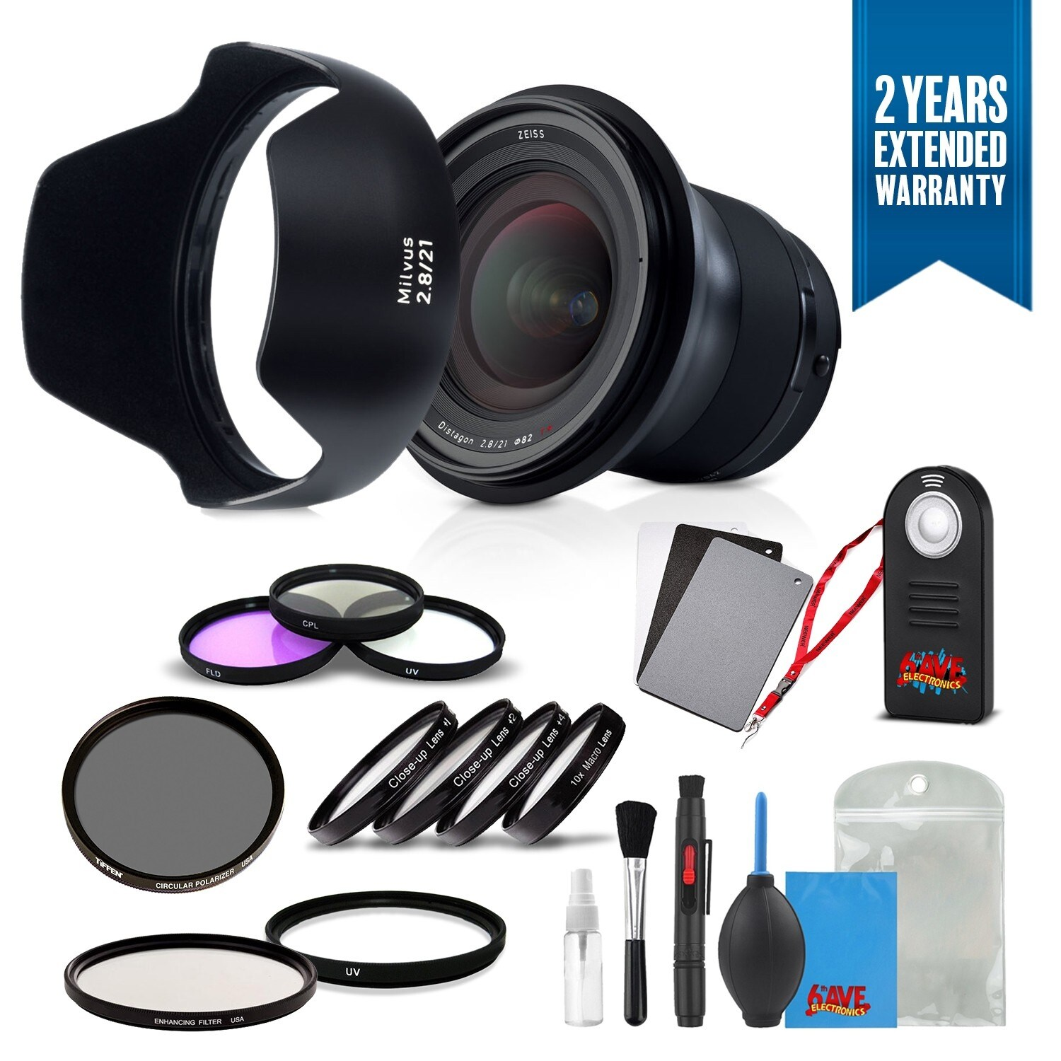Zeiss Milvus 21mm f/2 8 ZF 2 Lens for Nikon F - (2096-548) with Cleaning  Accessory Kit and 2 Year Extended Warranty