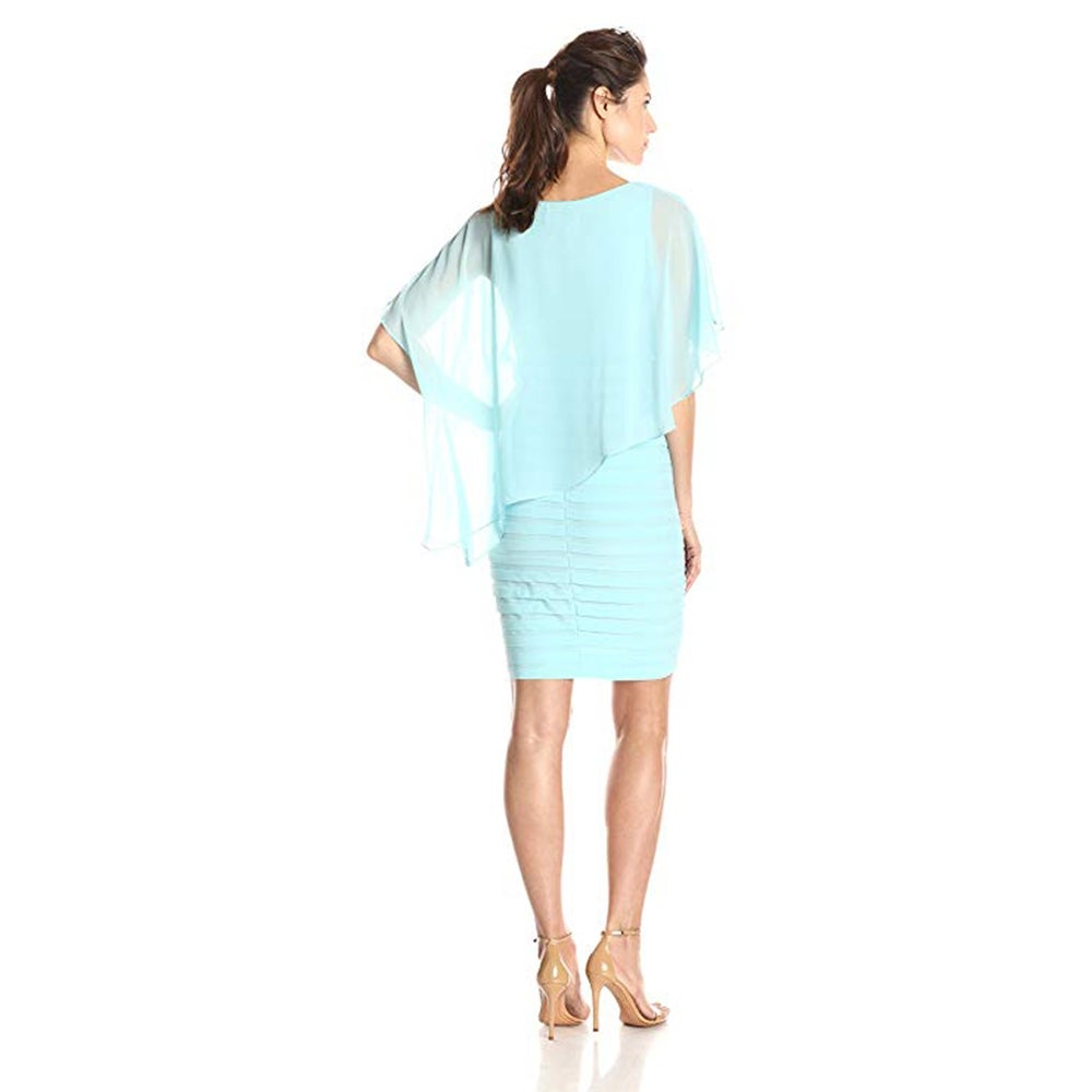 c1b6d4a66ee1 Shop Adrianna Papell Chiffon Drape Overlay with Banded Skirt, Sky, 6 - Free  Shipping Today - Overstock - 28059087