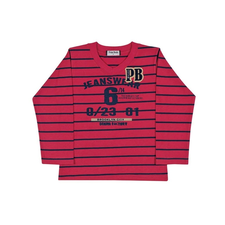 3f4524025 Shop Toddler Boy Long Sleeve Shirt V-Neck Striped Tee Pulla Bulla Sizes 1-3  Years - Free Shipping On Orders Over $45 - Overstock - 13077701
