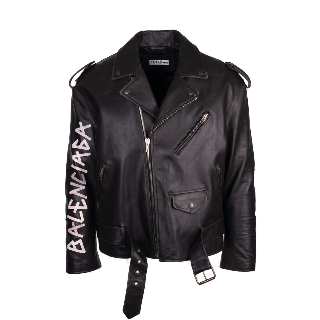 Shop Balenciaga Men s Black Leather Painted Logo Biker Jacket - S ... b0dacdb75