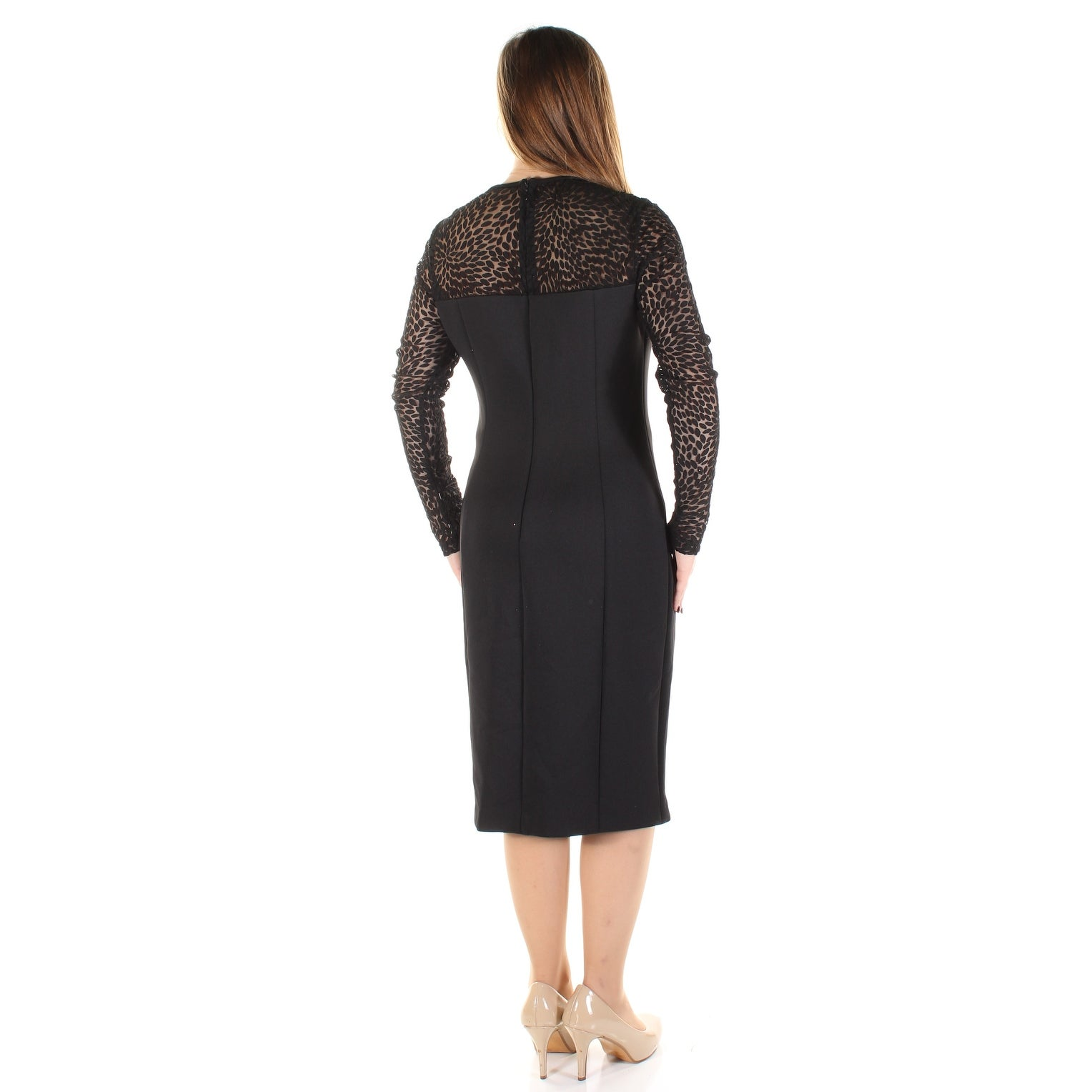 8f5e2a55c72 Shop CALVIN KLEIN Womens Black Lace Animal Print Long Sleeve Illusion  Neckline Below The Knee Sheath Cocktail Dress Size  8 - Free Shipping Today  ...