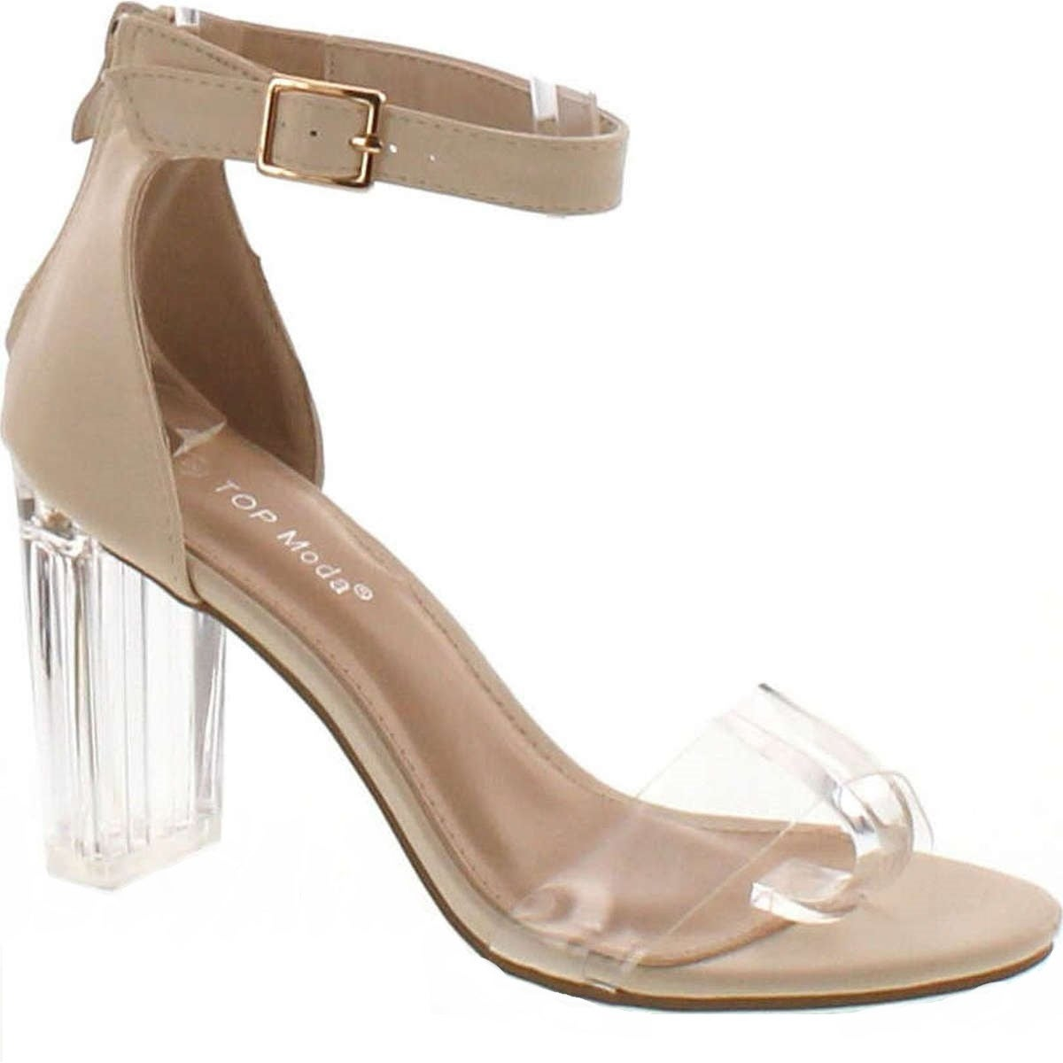 43237103628 Shop Top Moda Women s Alma-55 Lucite Clear Strappy Block Chunky High Heel  Open Peep Toe Sandal - Free Shipping On Orders Over  45 - Overstock -  14820352