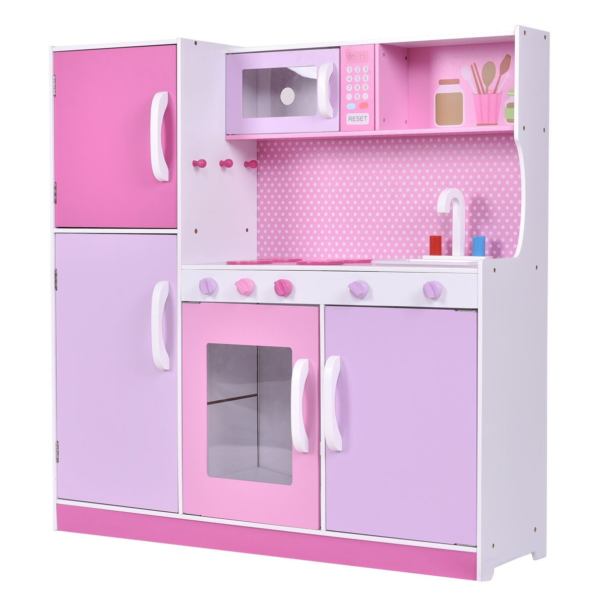 c2e0c8167132 Shop Costway Kids Wood Kitchen Toy Cooking Pretend Play Set Toddler Wooden  Playset Gift - Free Shipping Today - Overstock - 18531896