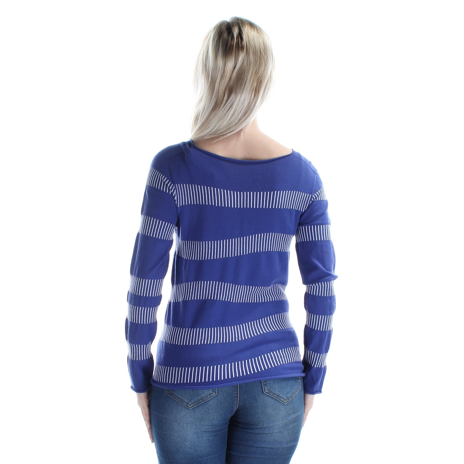 ba6c476f2c08d Shop ARMANI  625 Womens New 1080 Blue White Striped Boat Neck Long Sleeve  Top 6 B+B - On Sale - Free Shipping Today - Overstock.com - 21263782