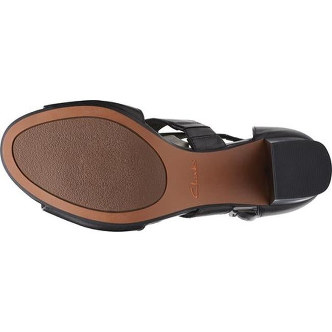 bd504a692d6 Clarks Women's Deva Heidi Heeled Sandal Black Leather