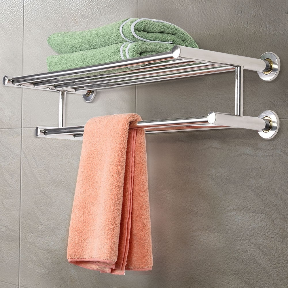 Shop Costway Wall Mounted Towel Rack Bathroom Hotel Rail Holder ...