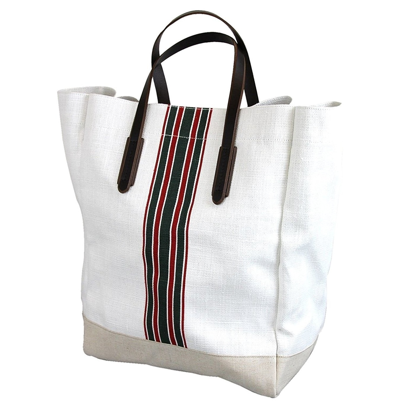 911c70480 Shop Gucci Men's White Canvas Large Web Tall Tote Bag 308836 - Free  Shipping Today - Overstock - 27603183