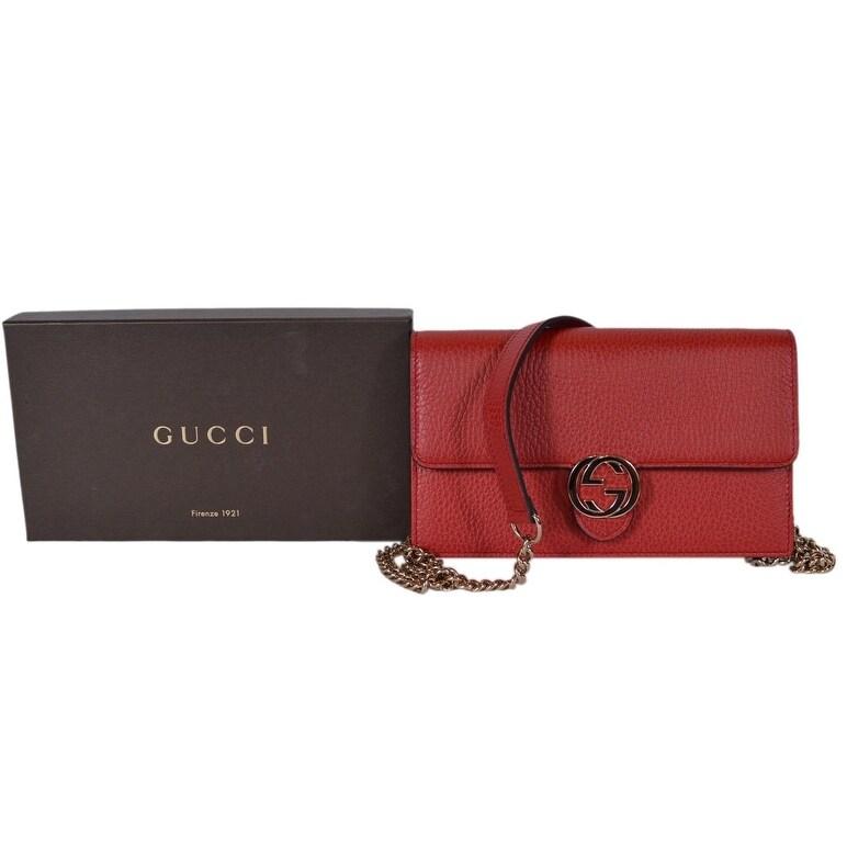 9ee1d554c Shop Gucci 510314 Red Leather Interlocking GG Crossbody Wallet Bag Purse  Clutch - 7.5