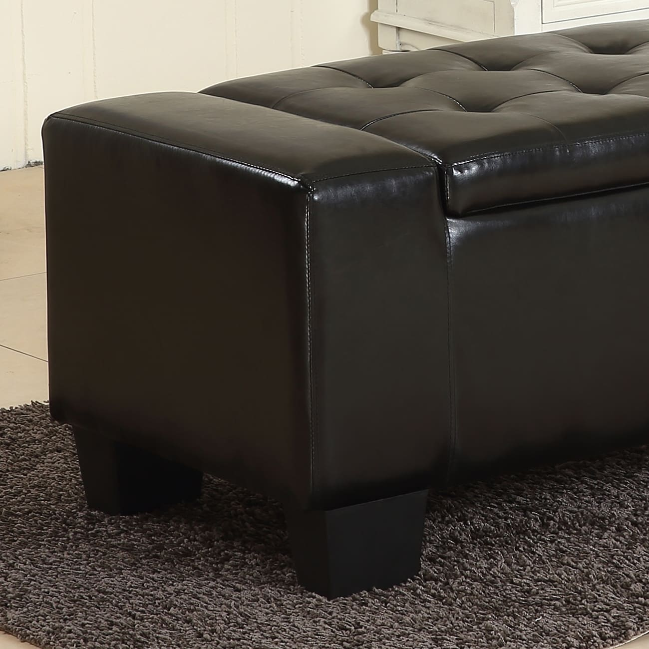 Belleze 51inch Storage Ottoman Bench Black Faux Leather Large