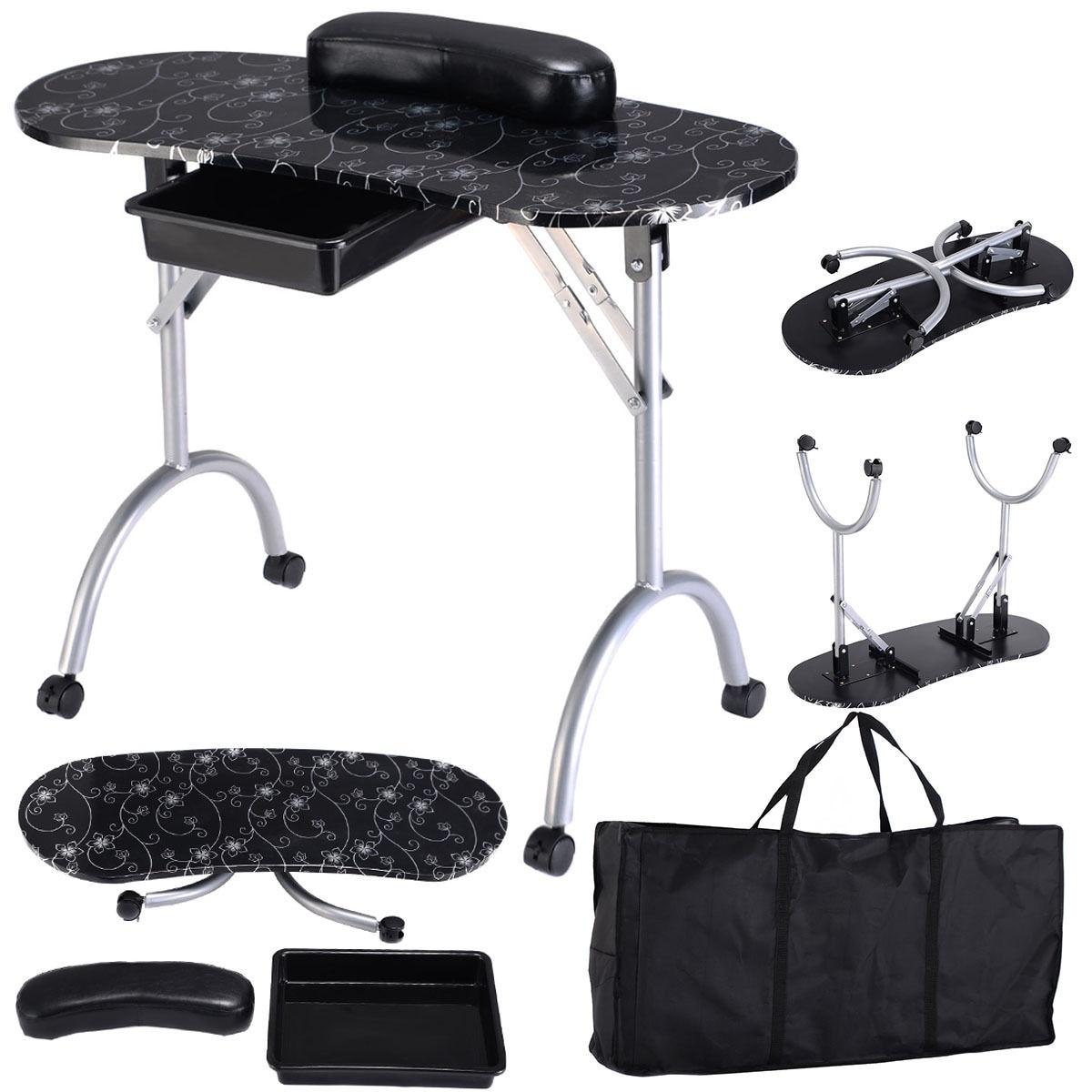 Shop Costway Black Manicure Nail Table Portable Station Desk Spa ...