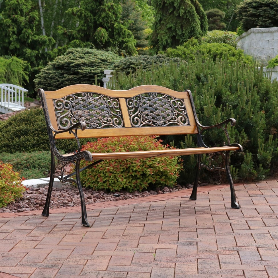 Shop sunnydaze 2 person ivy crossweave cast iron wood patio bench 49 inch free shipping today overstock com 16636373