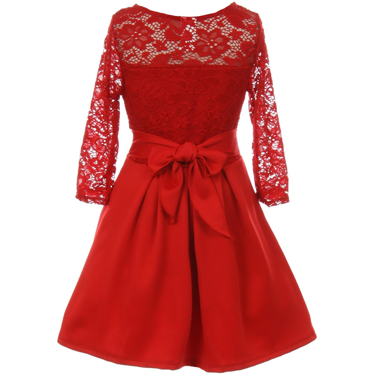 Shop Floral Lace Top Bow Flower Girl Dress USA Red JKS 2104 - Free ...