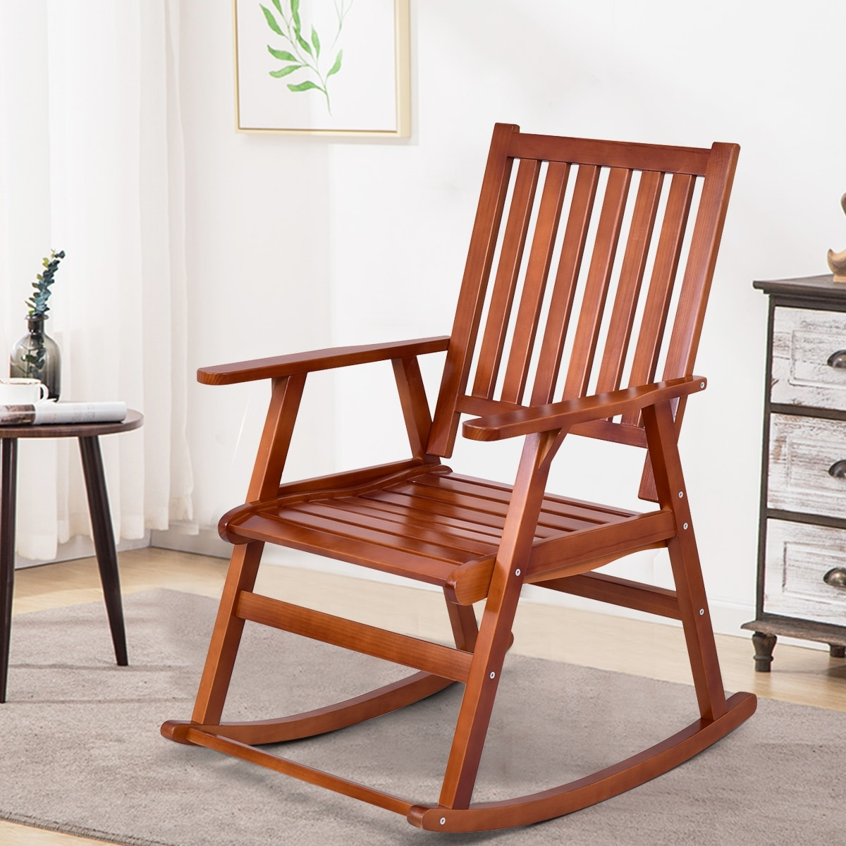 Costway Wood Rocking Chair Single Porch Rocker Indoor Outdoor Patio Furniture Natural Free Shipping Today 21029436
