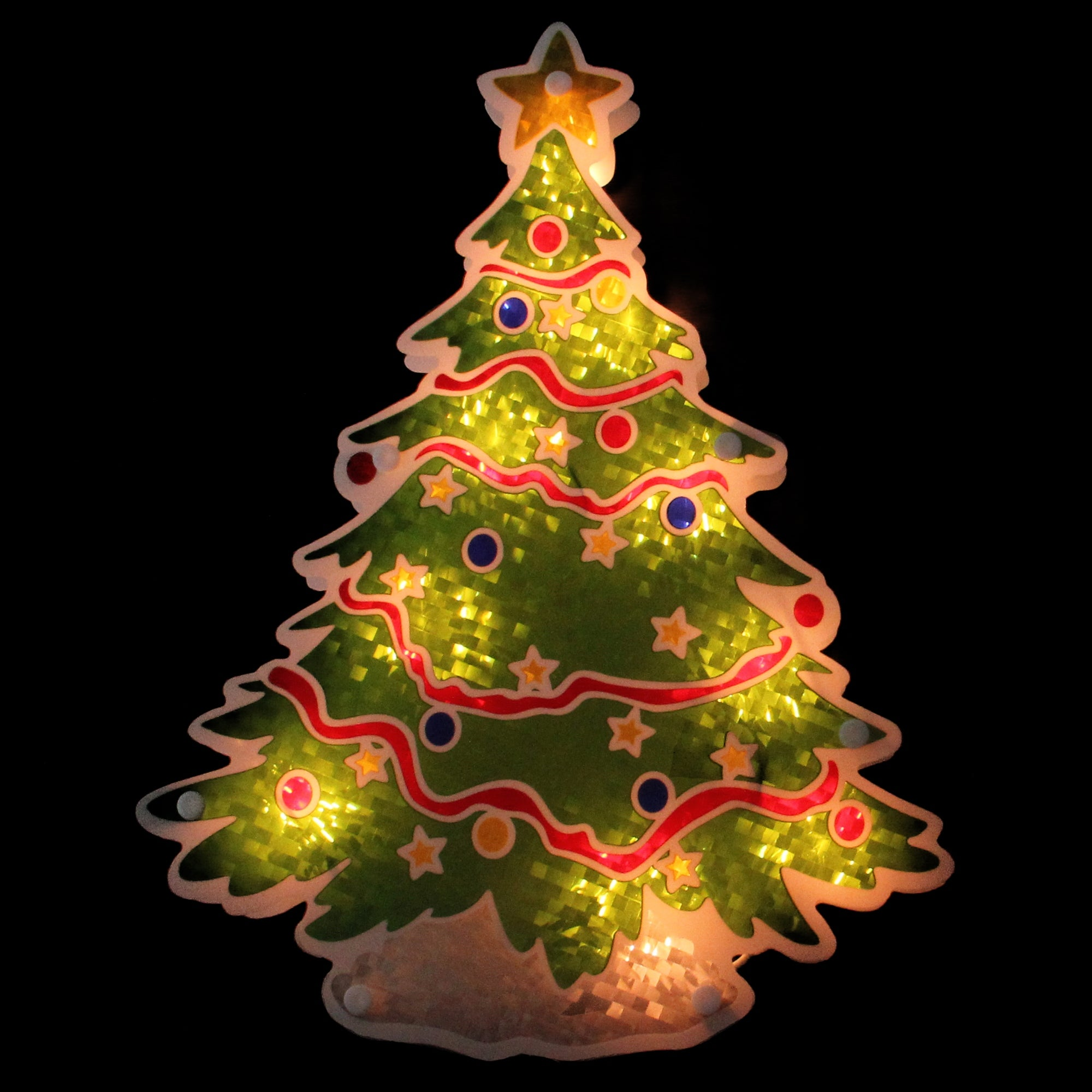 shop 125 glazed lighted holographic christmas tree window silhouette red free shipping on orders over 45 overstockcom 18123020