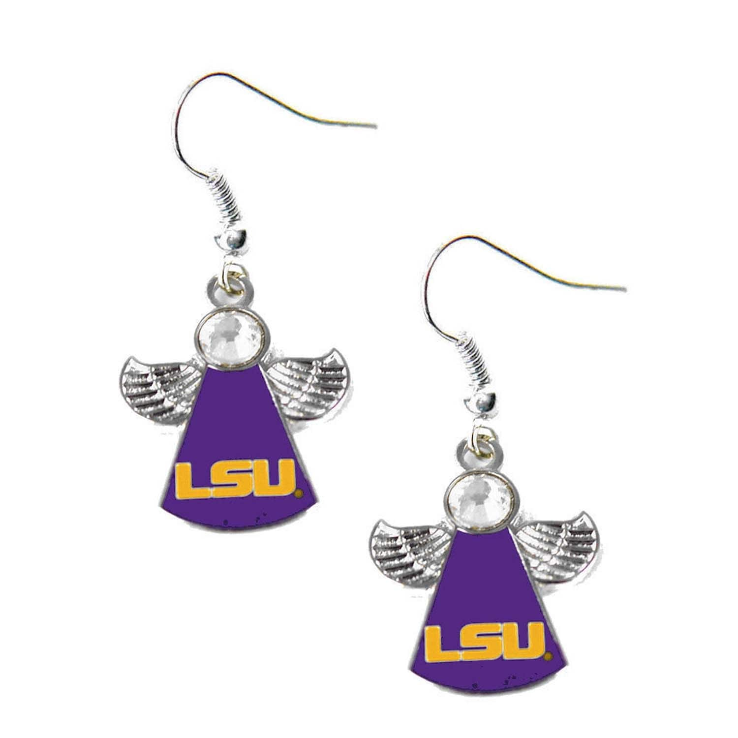 Shop LSU Tigers NCAA Crystal Angel Wing Dangle logo Earring Set ...