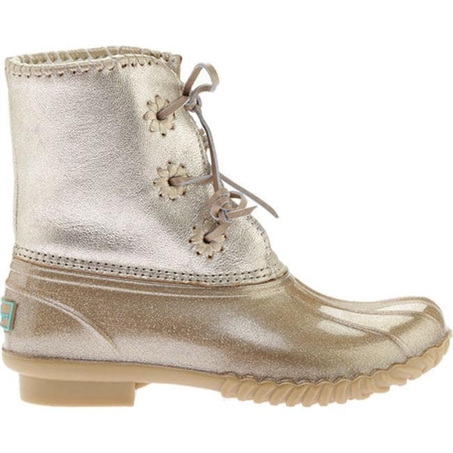 9939a21d0d56 Shop Jack Rogers Women's Chloe Duck Boot Platinum Glitter Leather/Rubber -  Free Shipping Today - Overstock - 19408309