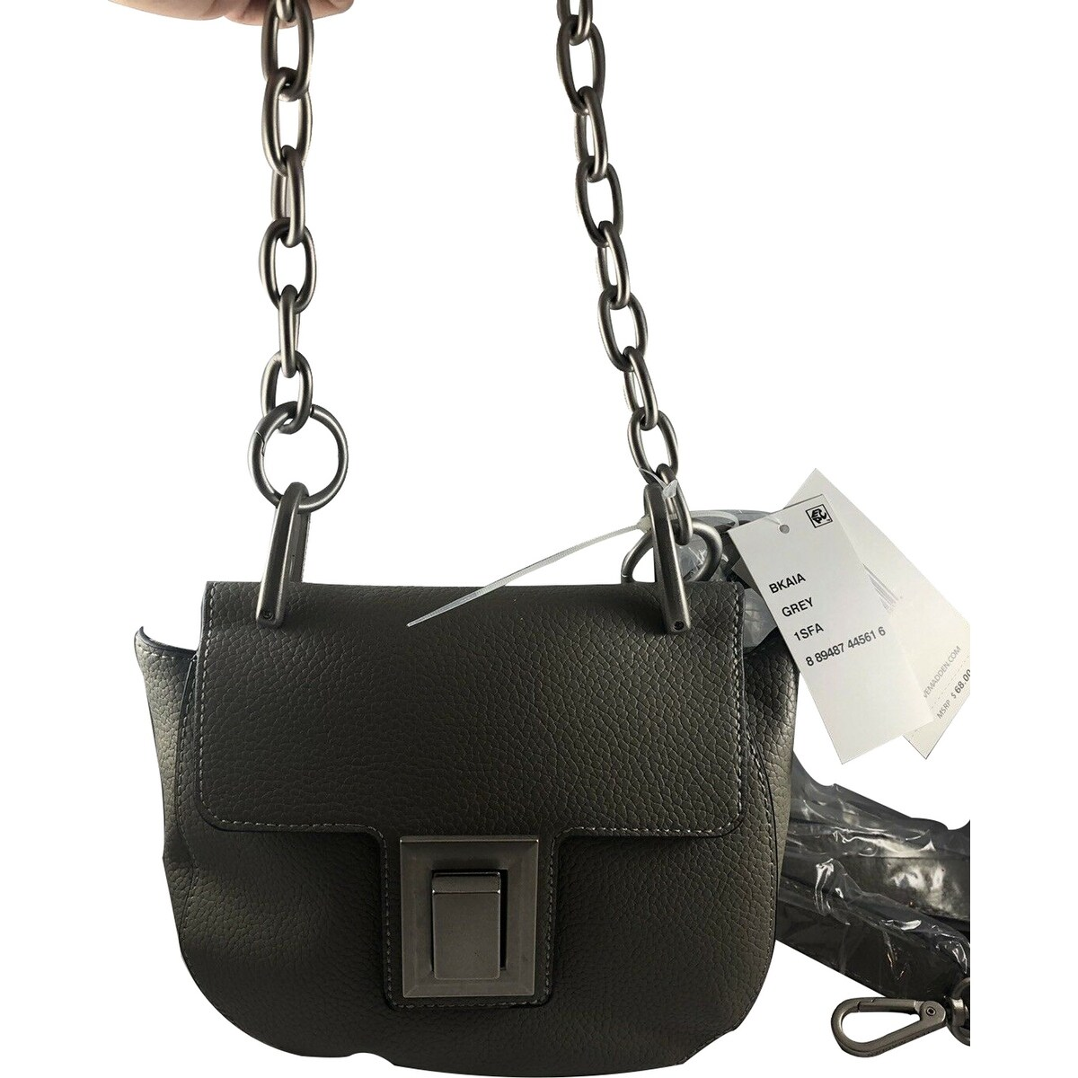 c241b6bbc6 Shop Steve Madden Kaia Chain Detail Saddle Small Crossbody NWT Grey - Free  Shipping Today - Overstock - 28424402
