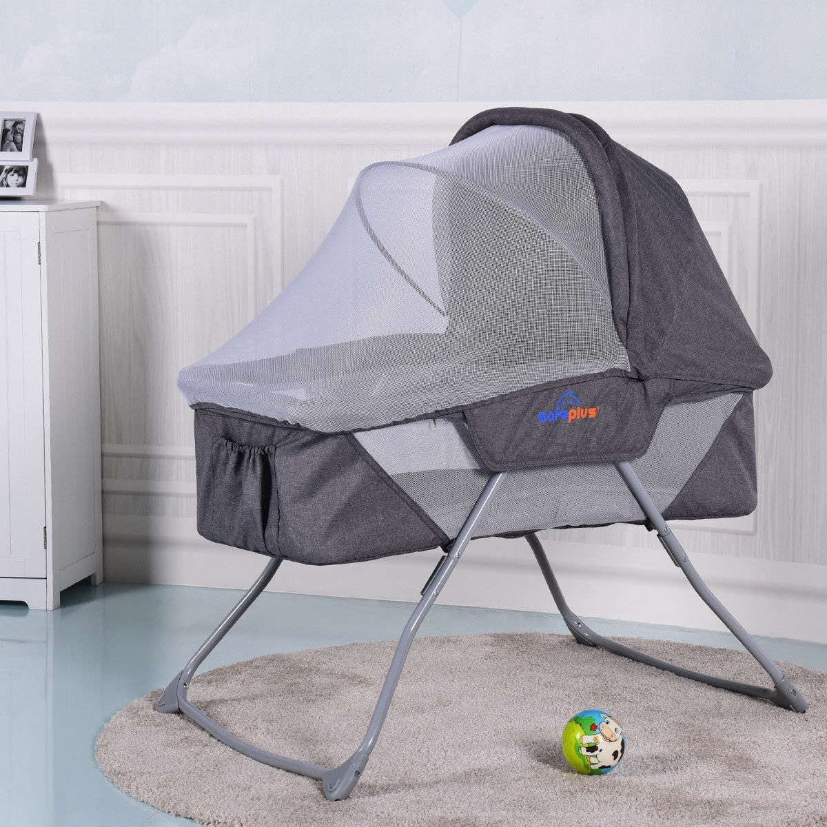 Shop Costway Lightweight Foldable Baby Bassinet Rocking Bed Canopy Mosquito Net Carrying Bag - Gray - Free Shipping Today - Overstock - 20489052 & Shop Costway Lightweight Foldable Baby Bassinet Rocking Bed Canopy ...