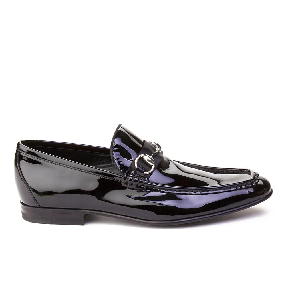 7a35089ba60 Shop Gucci Men s Patent Leather Horsebit Loafer Shoes Black - Free ...