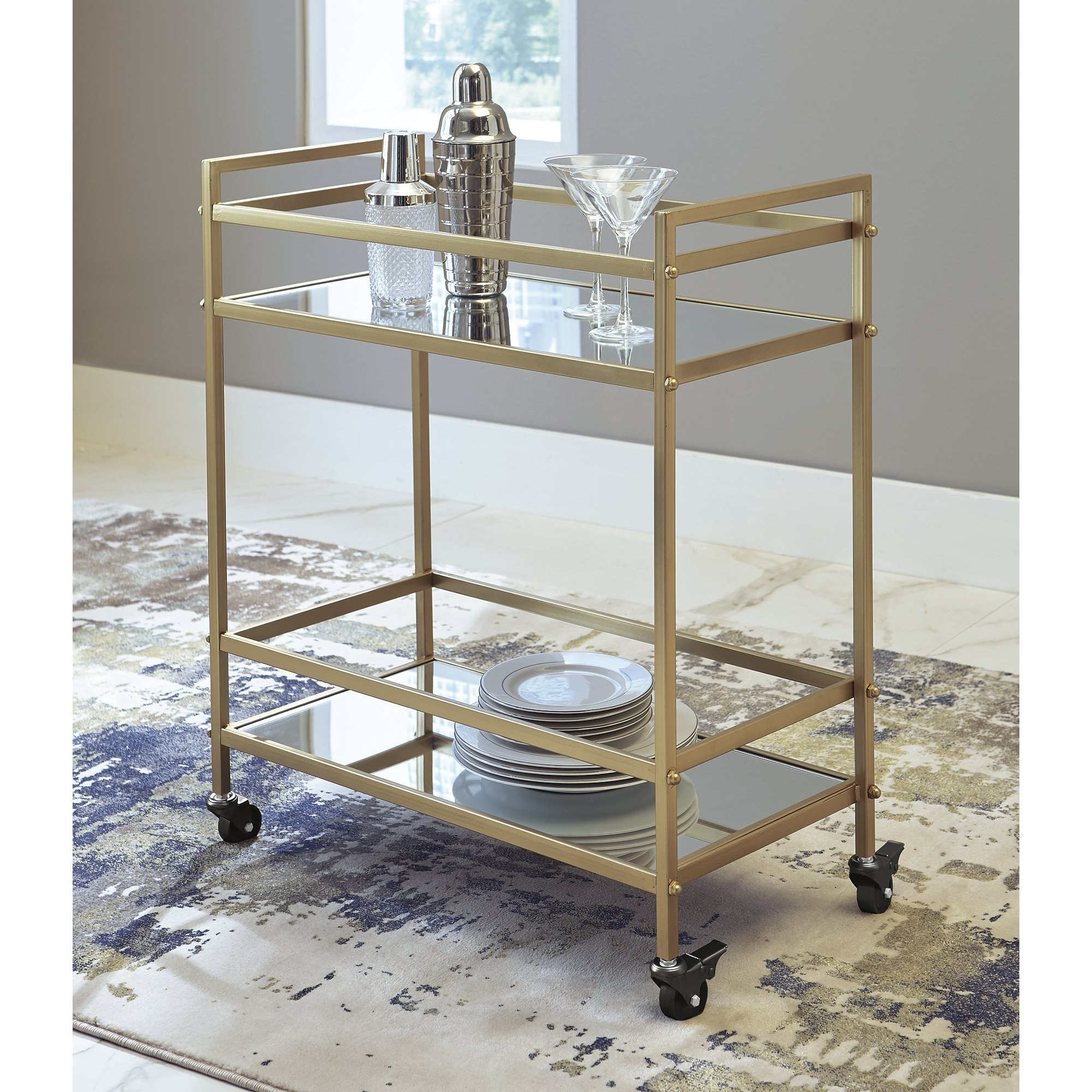 Kailman Contemporary Bar Cart In Metallic Gold On Sale Overstock 22670756