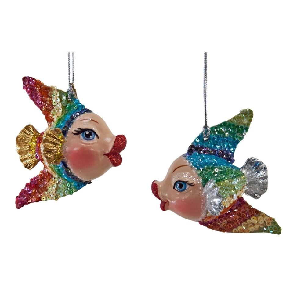 Shop Rainbow Kissing Fish Christmas Holiday Ornaments Set of 2 ...