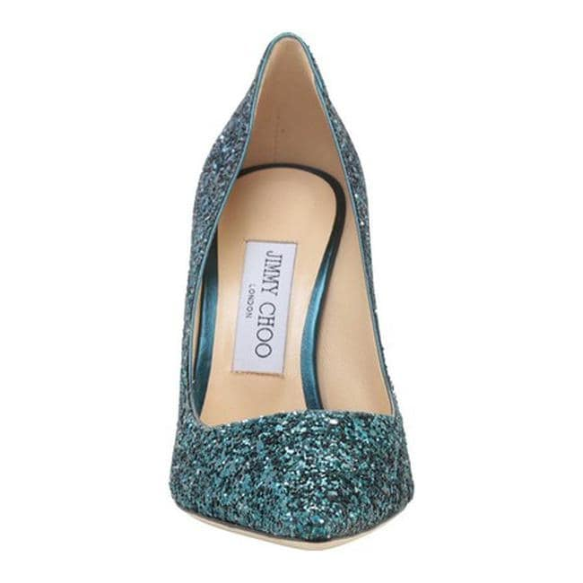 39369a3ee780 Shop Jimmy Choo Women s Romy 100 Coarse Glitter Fabric Pointy-Toe Pump  Peacock Navy Coarse Glitter Degrade - Free Shipping Today - Overstock -  21727555