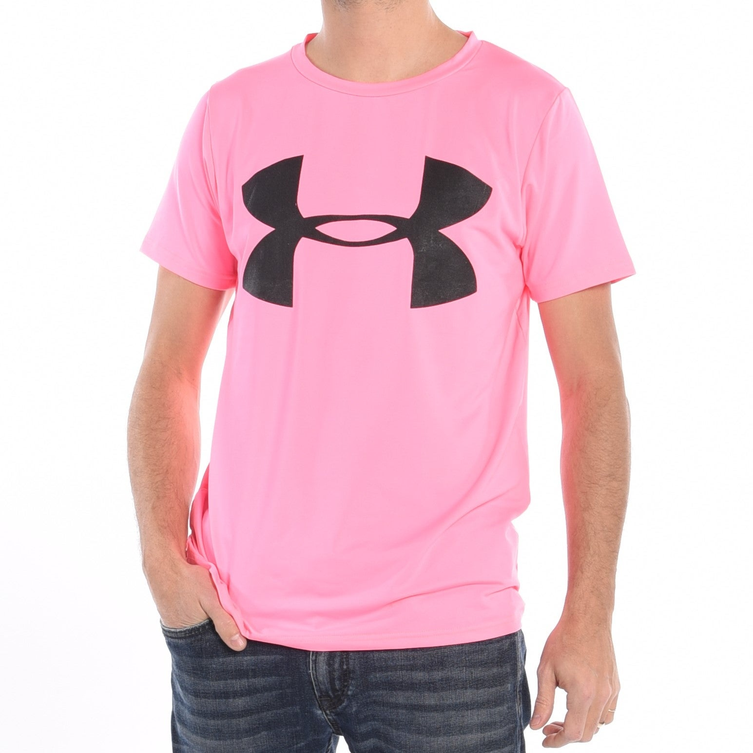 a73f6493b7be Shop Men'S Workout T-Shirt In Pink - Free Shipping Today - Overstock.com -  17129859