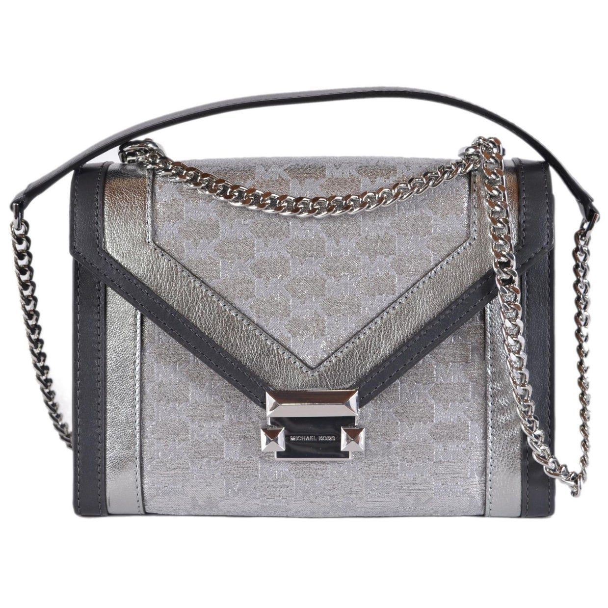 115daa7df073 Shop Michael Kors Whitney Large Metallic Logo Jacquard Convertible Shoulder  Bag - Free Shipping Today - Overstock - 26444405