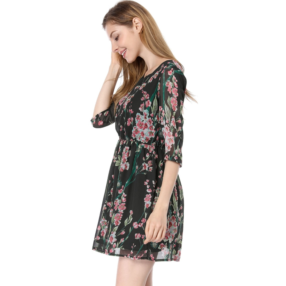 9d8693f1b0 Shop Allegra K Women 3 4 Sleeves Round Neck Floral Print Above Knee Skater  Dress - Free Shipping On Orders Over  45 - - 23580548