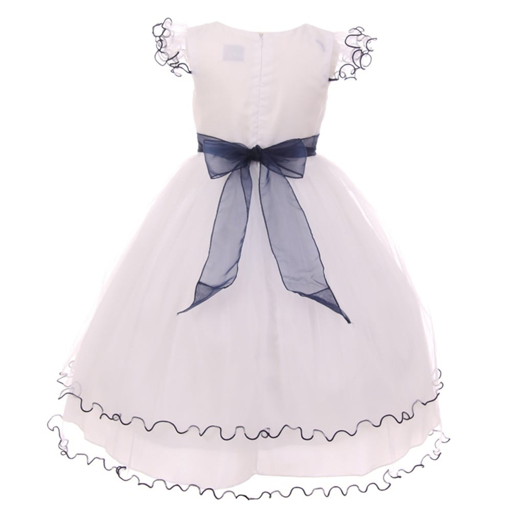 cc0c6ea2c Shop Girls Navy White Wire Hem Ruffle Floral Detail Flower Girl Dress - Free  Shipping On Orders Over $45 - Overstock - 18176025