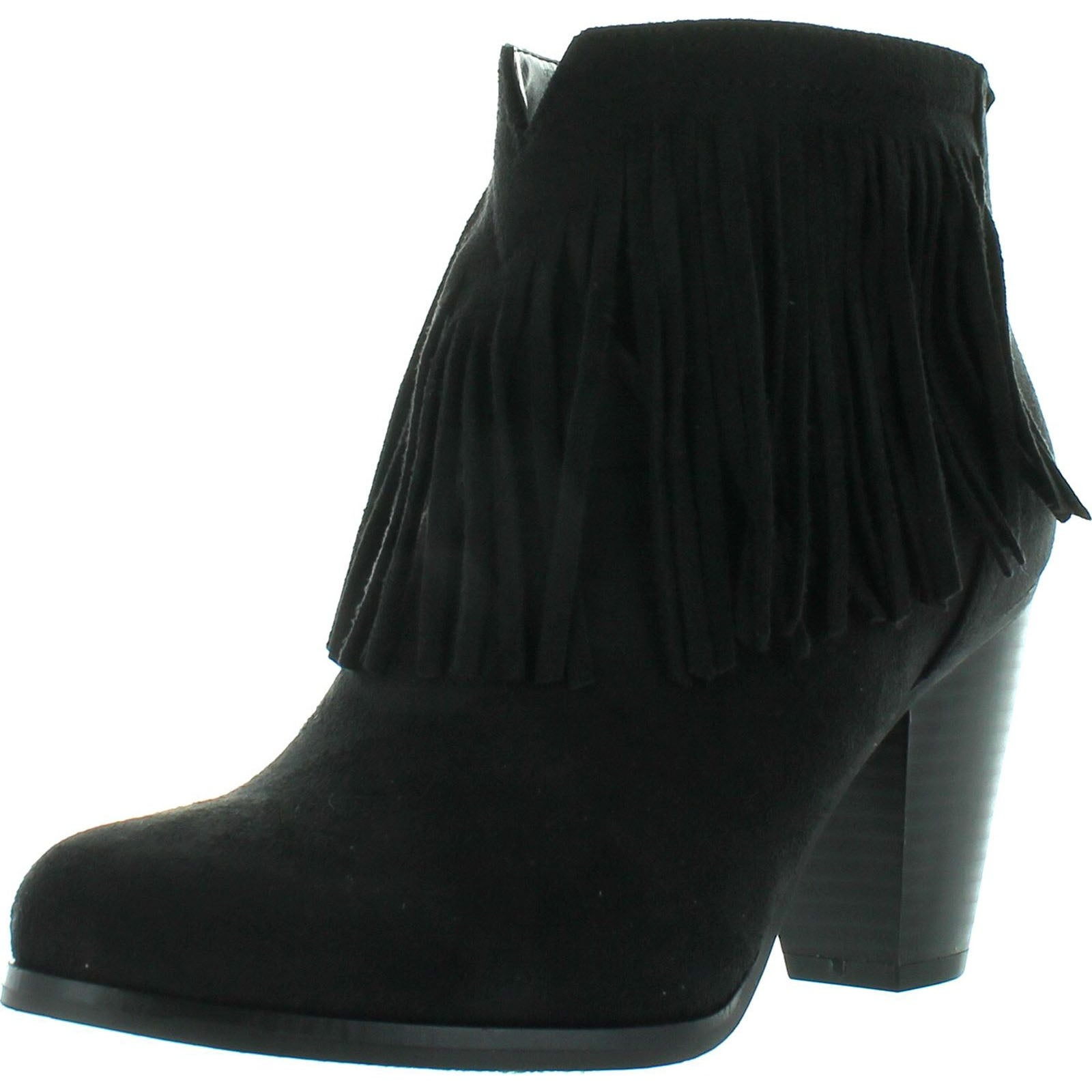 e5f6c7feac1ae Soda Women's Agree Cowboy Fringe Faux Suede Closed Toe Stacked Heel Ankle  Boot
