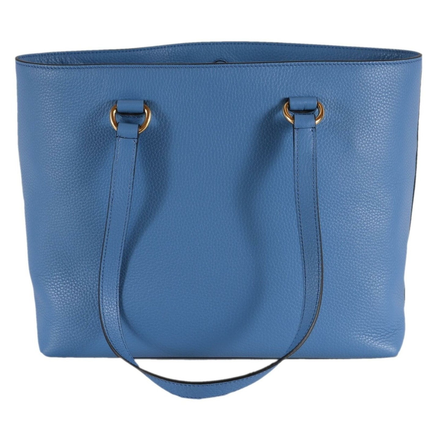 2ddf6bf183a983 Prada 1BG100 Mare Blue Leather Vitello Phenix Embossed Logo Shopper Purse
