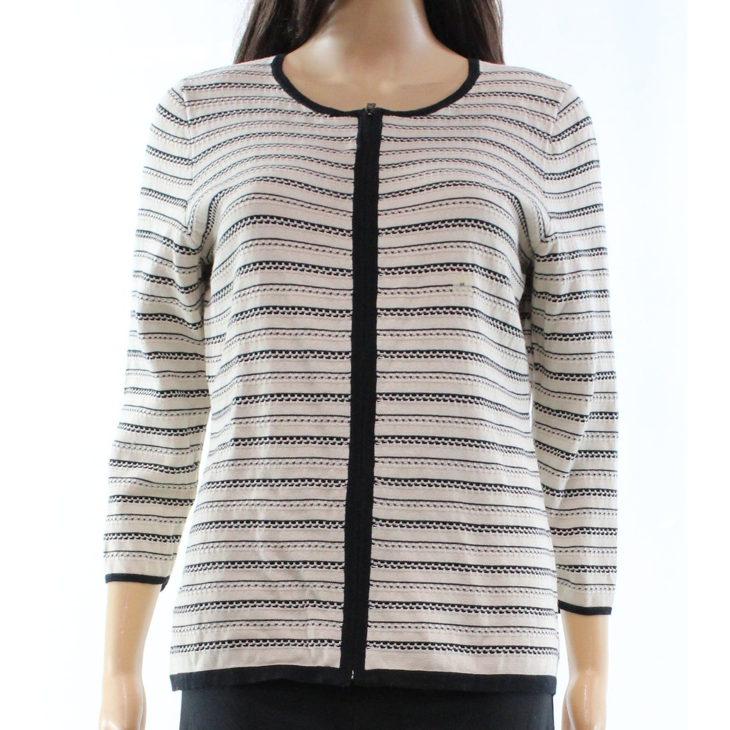 8f4f9c2e9b Shop Ann Taylor NEW Beige Black Stripe Womens Size Medium M Full Zip Sweater  - Free Shipping On Orders Over  45 - Overstock.com - 18359473