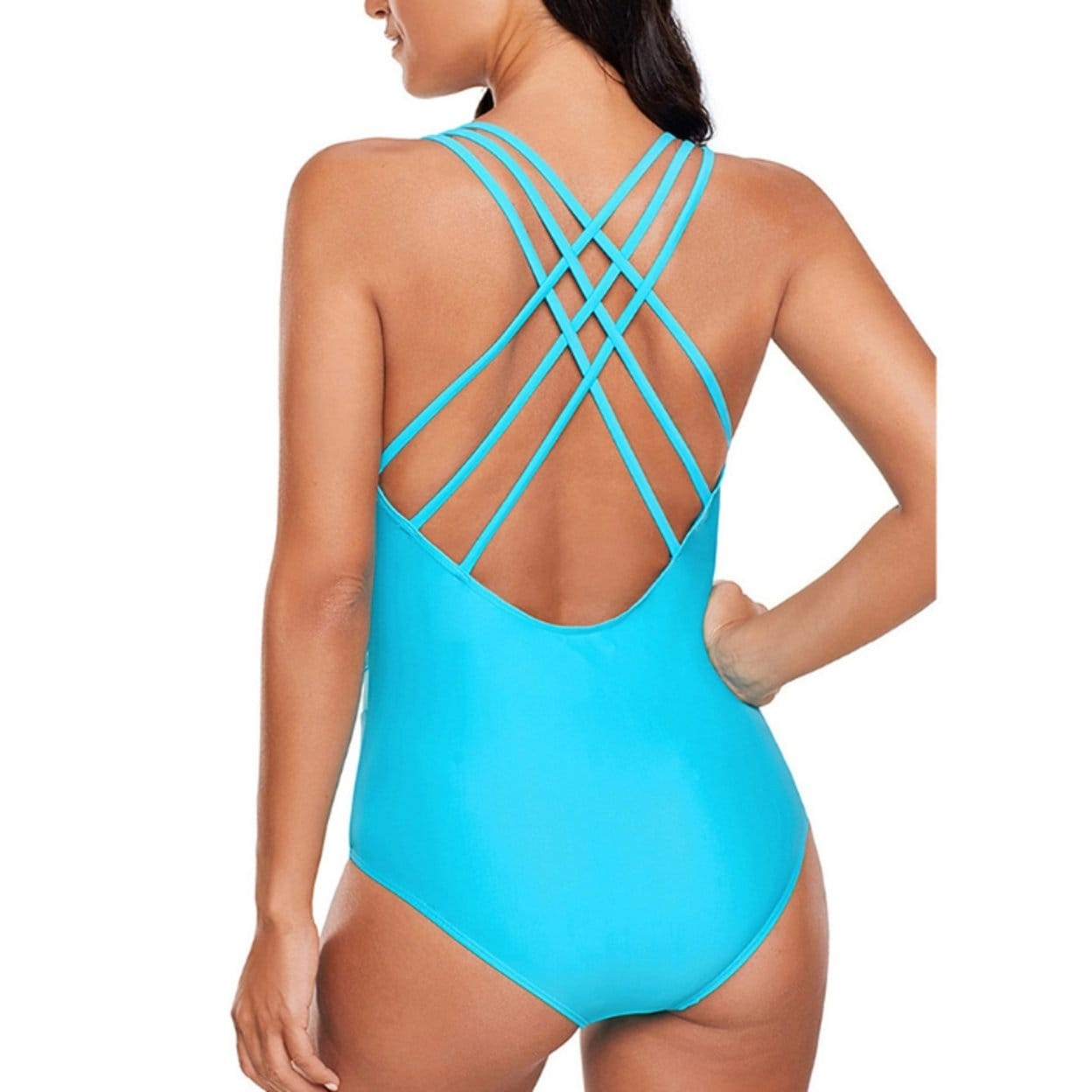 6cc8fa9c831e7 Shop Women's Sexy Plus Size V Neck One Piece Swimsuit Tummy Control Swimwear  Cross Back Bathing Suits - On Sale - Ships To Canada - Overstock - 27517005