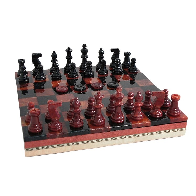 Black Red Alabaster Inlaid Chest Chess Set Multicolored Free Shipping Today 18053165