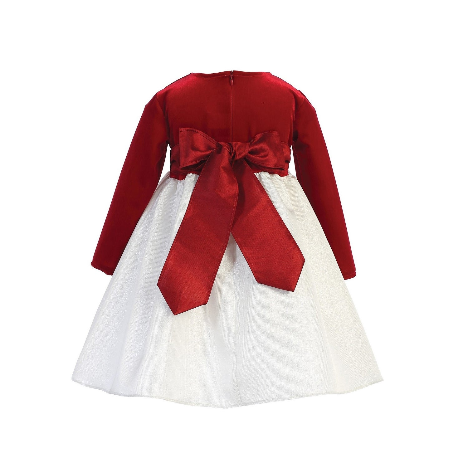 083a682a9 Shop Lito Girls Ivory Red Velvet Jacquard Long Sleeved Christmas Dress - Free  Shipping Today - Overstock - 23540328