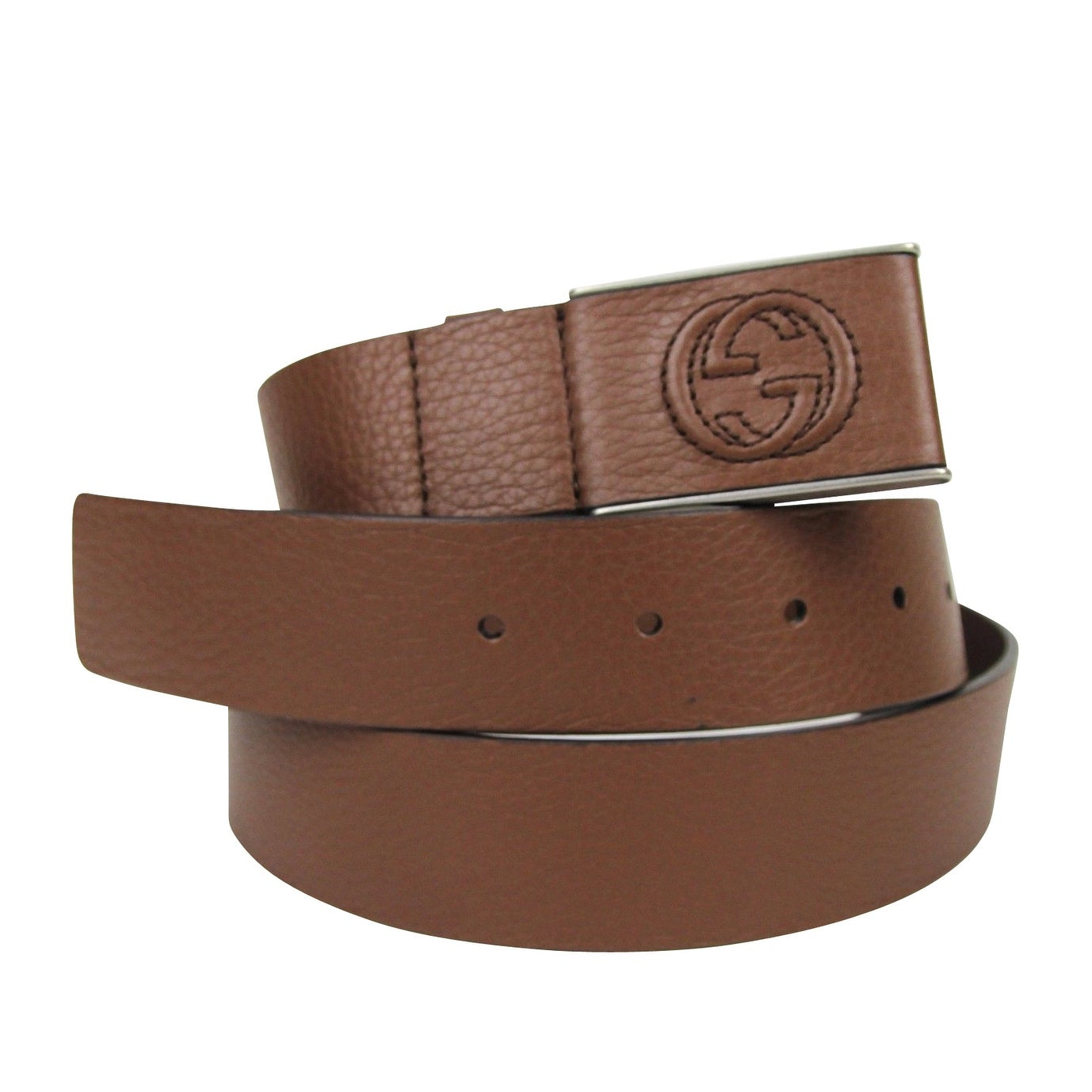 e603b572ff0 Shop Gucci Men s Square GG Brown Leather Belt Buckle 368188 2138 (95 38) -  95   38 - Free Shipping Today - Overstock - 25695028