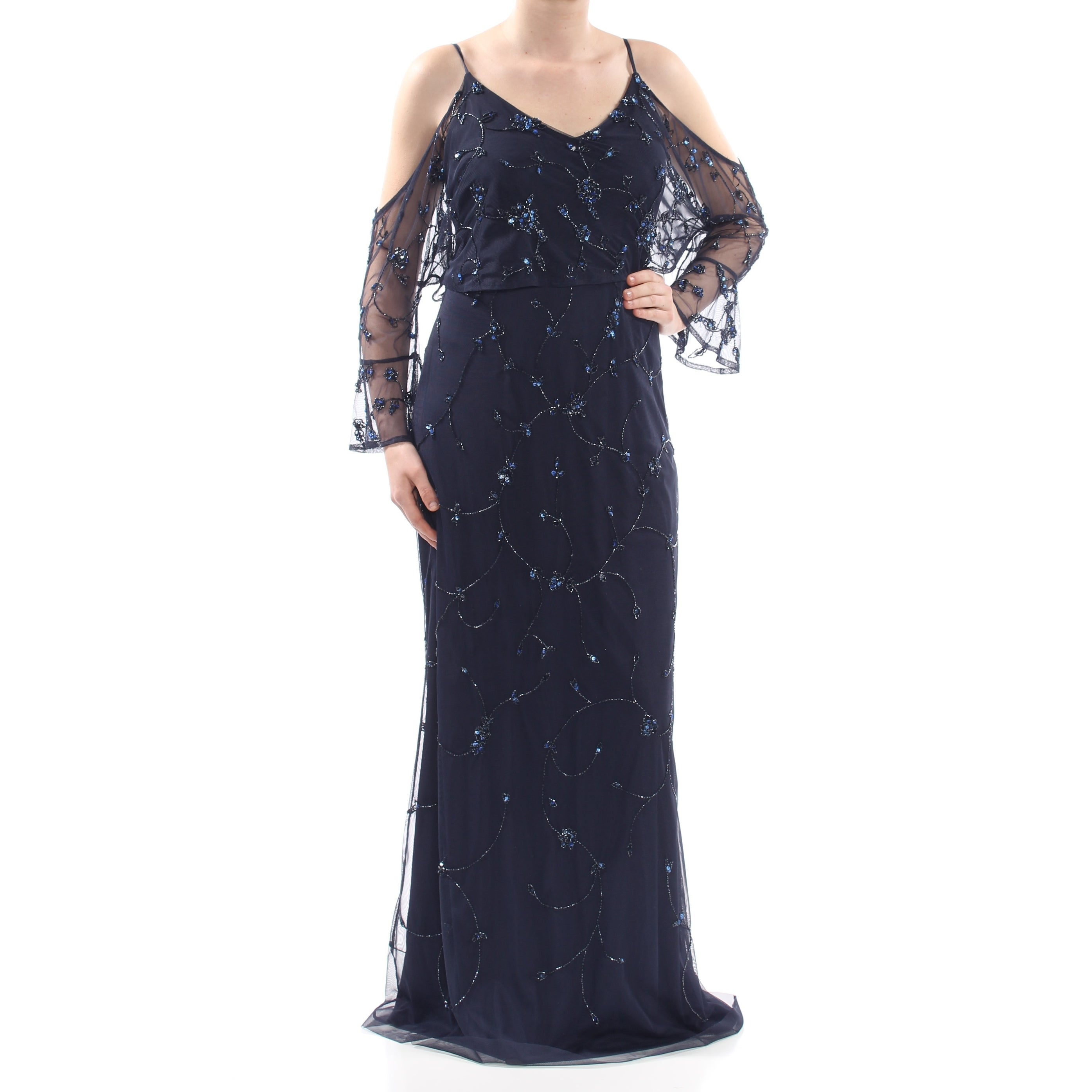 2c6461c2 Shop ADRIANNA PAPELL Womens Navy Beaded Cold Shoulder Twilight Popover Gown  Long Sleeve V Neck Full-Length Formal Dress Size: 10 - Free Shipping Today  ...