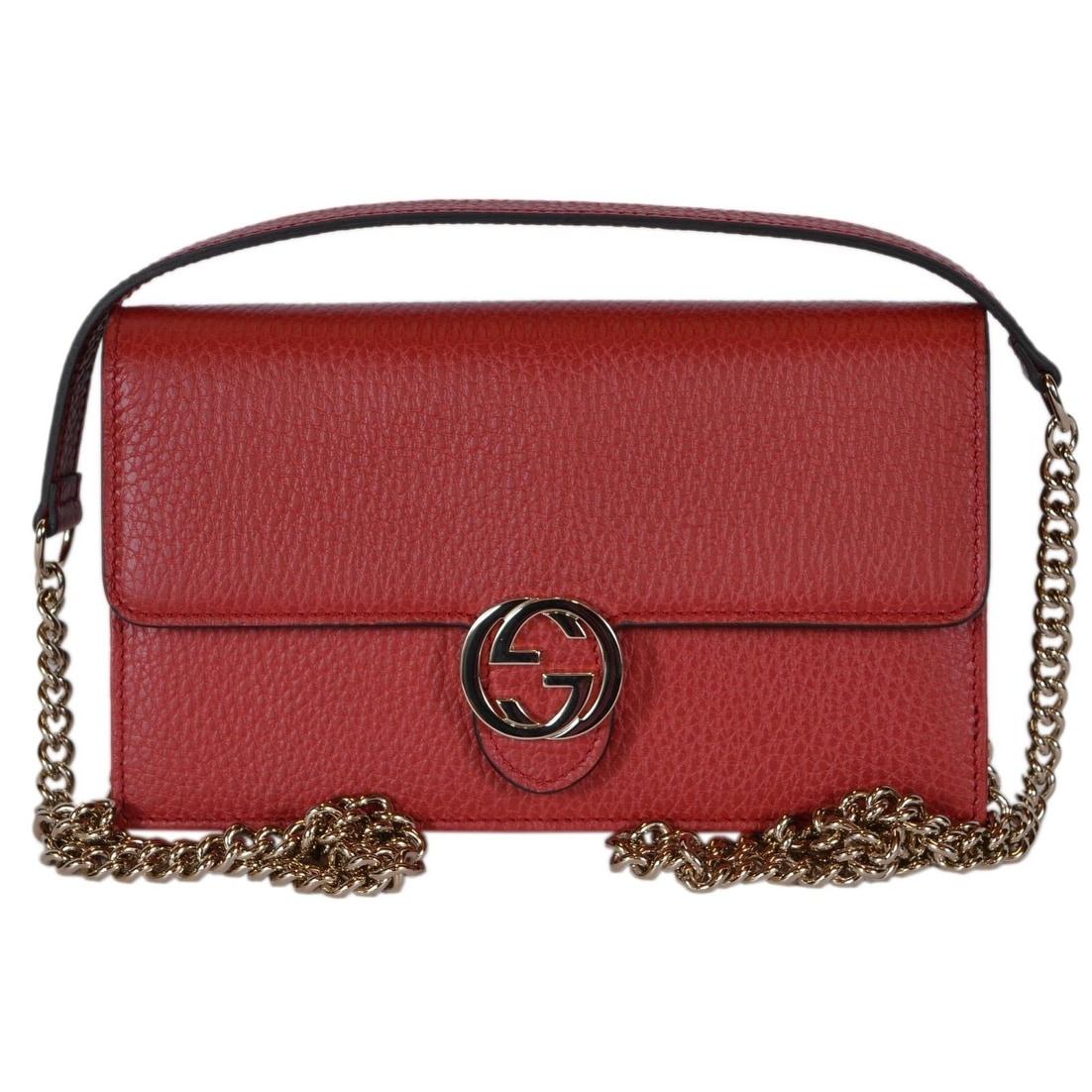 6db7f18f0 Gucci 510314 Red Leather Interlocking GG Crossbody Wallet Bag Purse Clutch  - 7.5