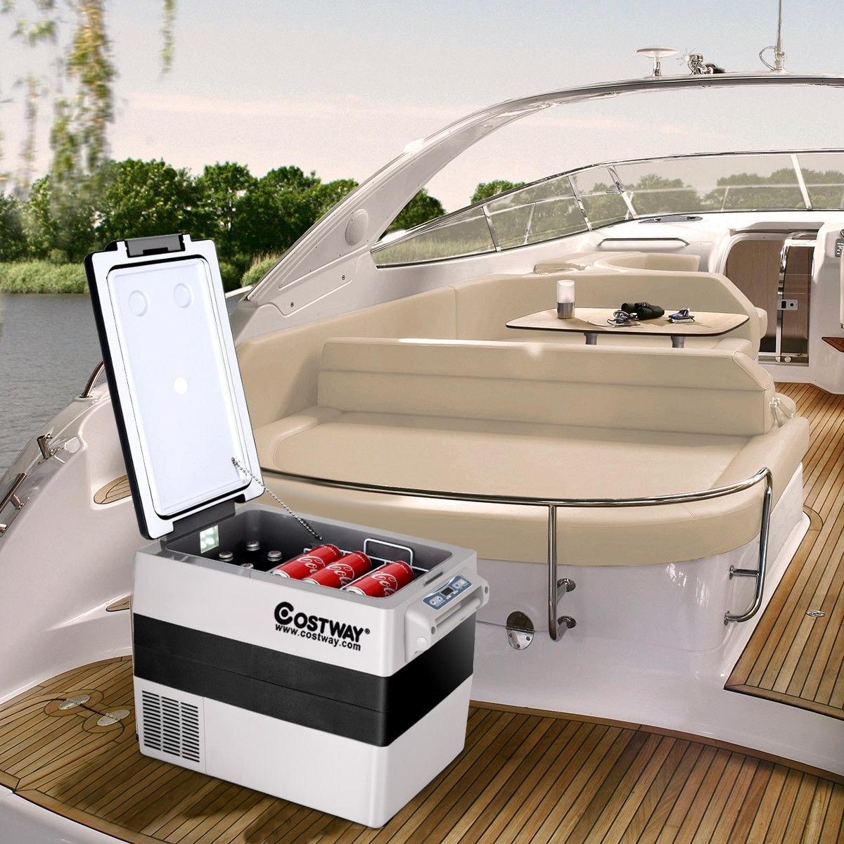 Costway 54 Quarts Portable Electric Car Cooler Refrigerator/Freezer  Compressor Camping - White + Gray