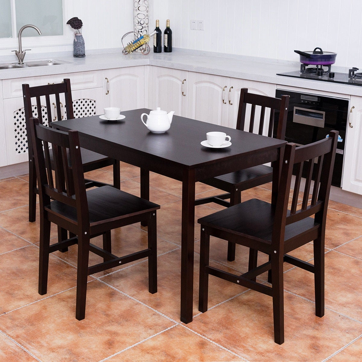 Costway 5PCS Solid Pine Wood Dining Set Table And 4 Chairs Home Kitchen  Furniture Brown   Free Shipping Today   Overstock   24937988