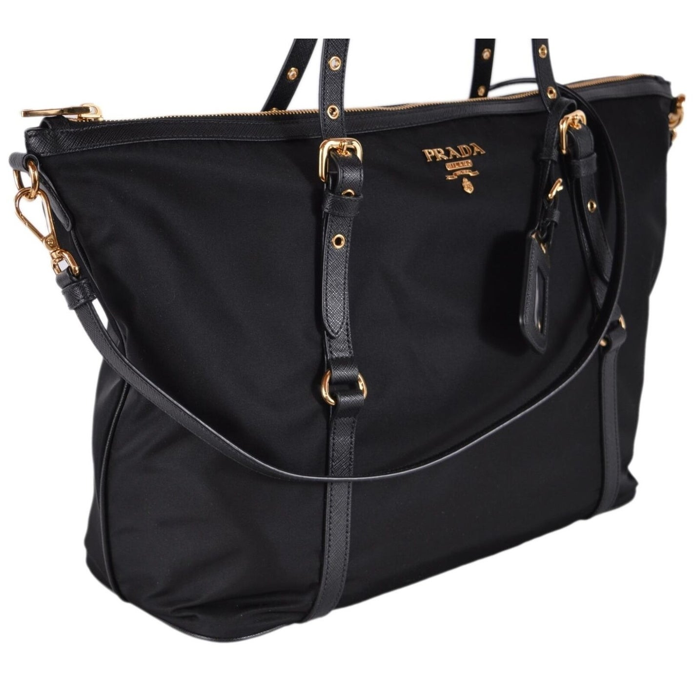 cf1e0601983f Shop Prada 1BG253 Black Tessuto Nylon Large Zip Top 2-Way Purse Shopper  Handbag - Free Shipping Today - Overstock - 26885888