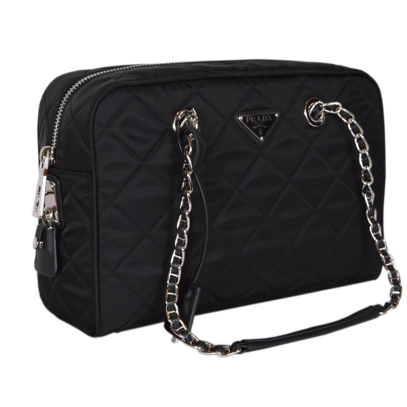 Shop Prada Black Quilted Nylon Tessuto Impuntu Chain Strap Shoulder Purse  Handbag - 12