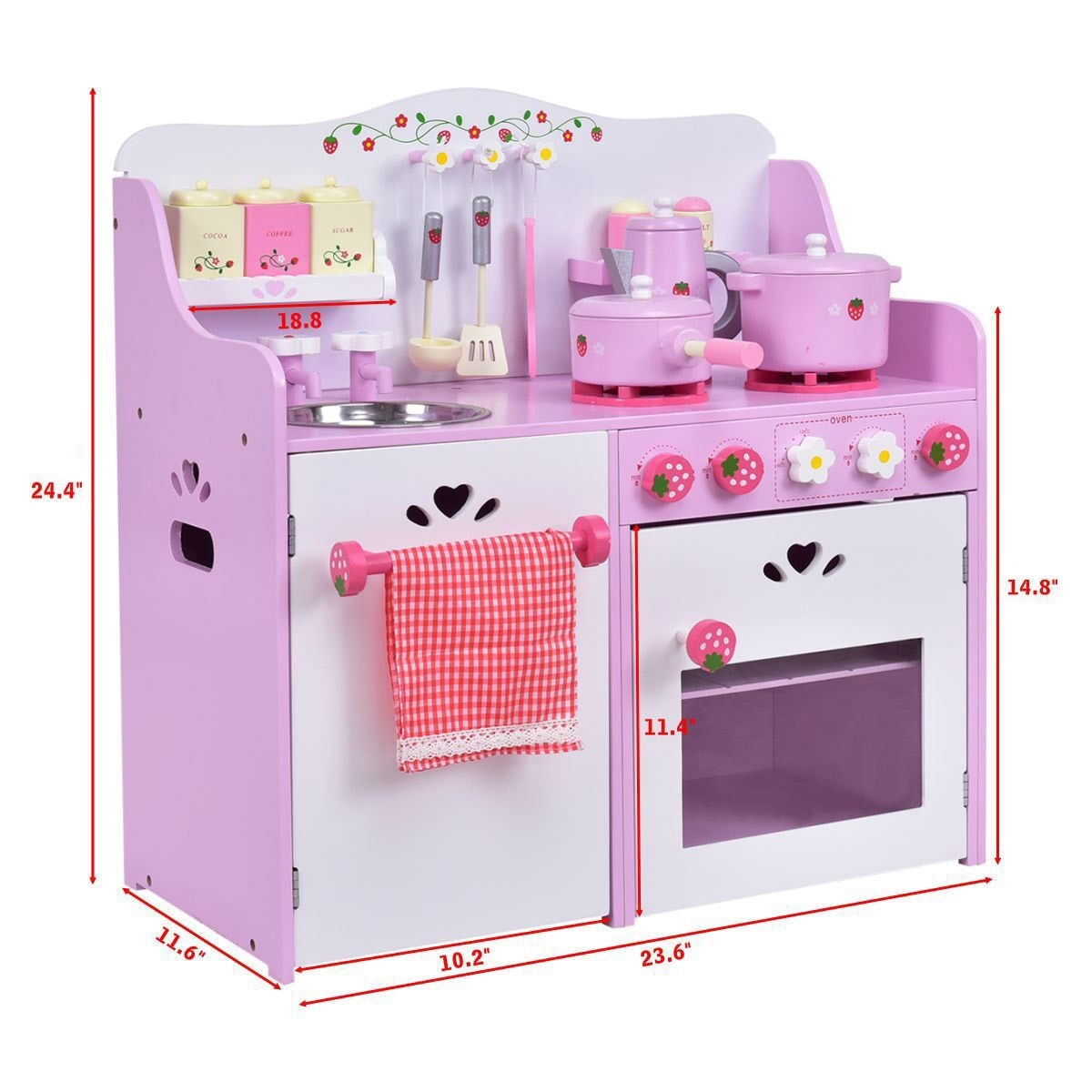 Shop costway kids wooden play set kitchen toy strawberry pretend cooking playset toddler free shipping today overstock com 18109226