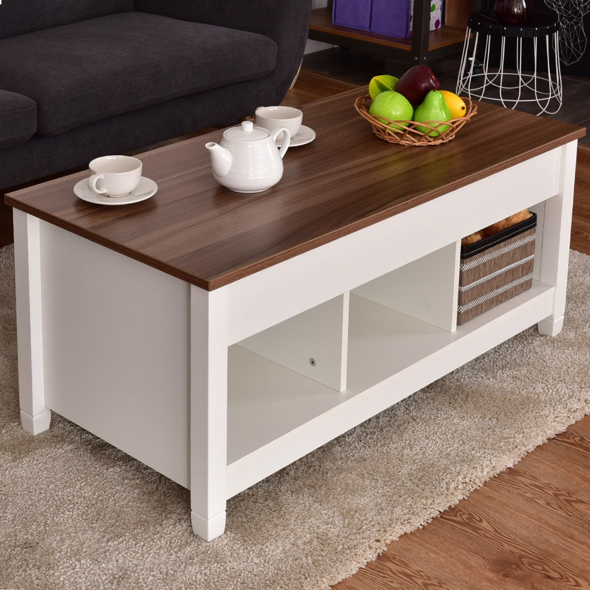 Shop Costway Lift Top Coffee Table w/ Hidden Compartment and Storage Shelves Modern Furniture - Free Shipping Today - Overstock.com - 18298805 & Shop Costway Lift Top Coffee Table w/ Hidden Compartment and Storage ...