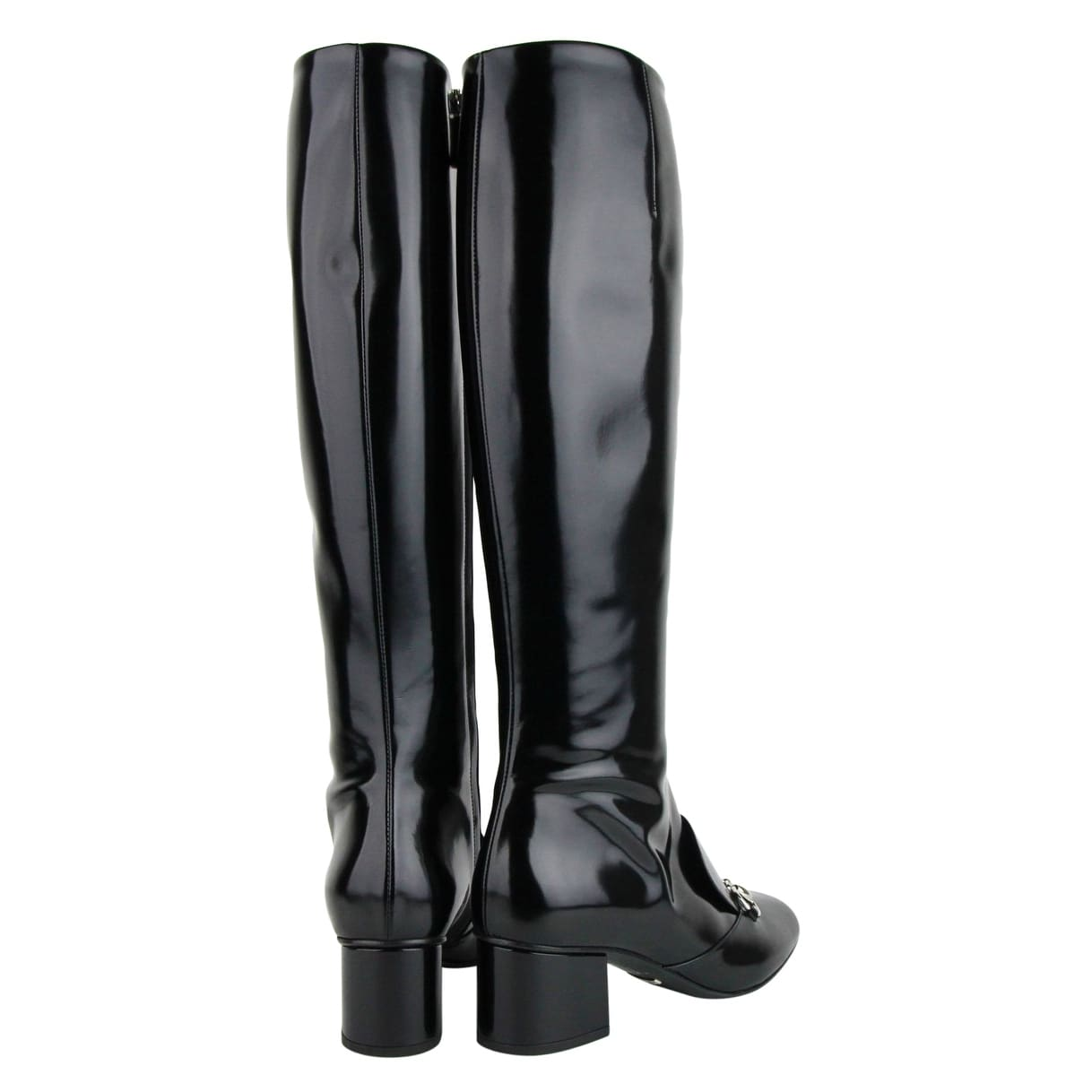851621055 Shop Gucci Black Patent Leather Knee Boots With Silver Horsebit 362949 1000  - Free Shipping Today - Overstock - 25734831