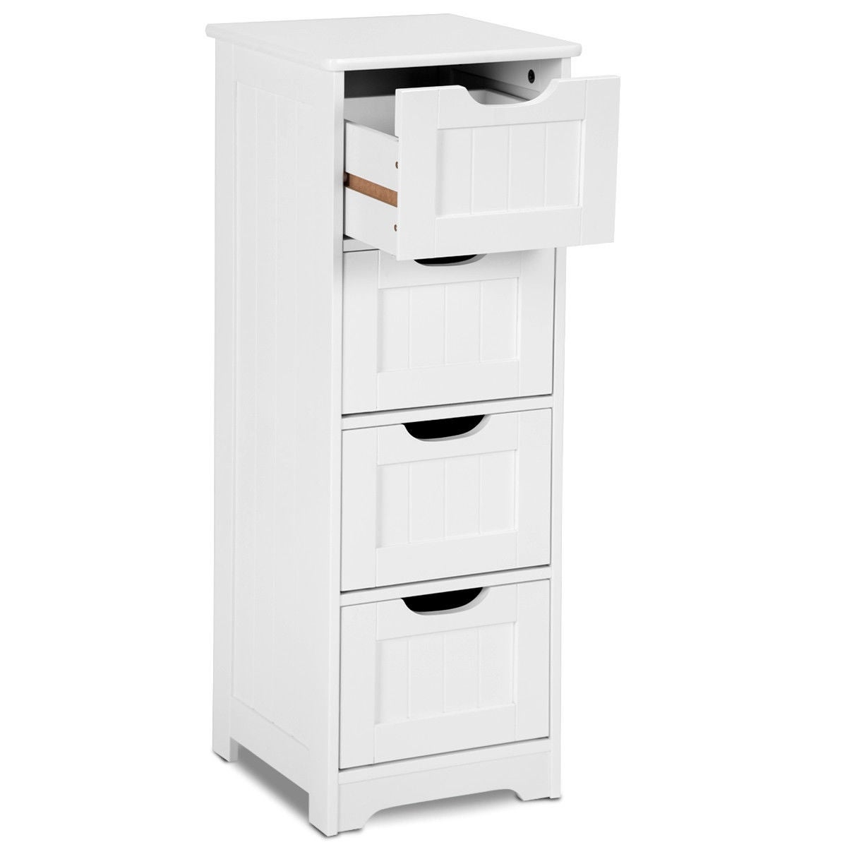 Shop Gymax Bathroom Floor Cabinet Wooden Free Standing Storage Side ...