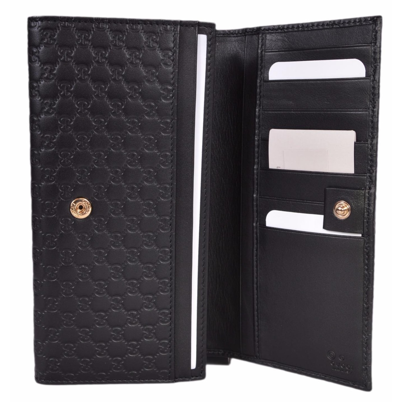 ac868383a4579c Shop Gucci Women's 449396 Black Leather Micro GG Continental Bifold Wallet  - 7.5