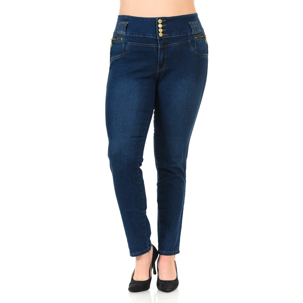 ec8514890d Pasion Women s Jeans - Plus Size - High Waist - Push Up - Style N343 -  Color - Navy - Size - 18